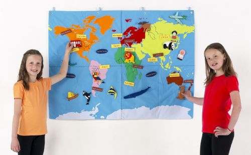 Children's Interactive World Map Cloth Wall Chart